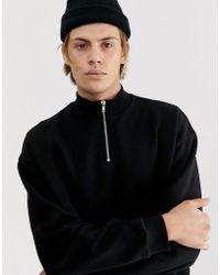 ASOS Oversized Sweatshirt With Zip Neck In Black