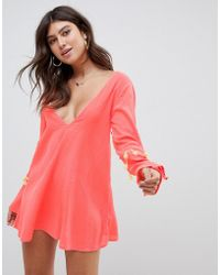 ASOS - Fringed Trim Beach Cover Up With Tassel Trim - Lyst