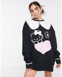 New Girl Order Curve x Hello Kitty - Vestito felpa oversize con colletto - Nero
