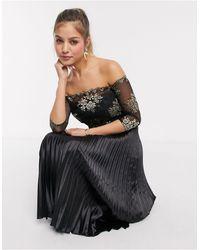 Chi Chi London Chi Chi Aivana Satin Midi Dress With Gold Embroidery - Black