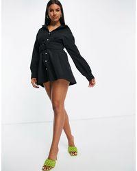 I Saw It First Belted Shirt Mini Dress - Black