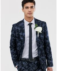 Moss Bros Moss London Slim Fit Suit Jacket With Floral Print - Blue