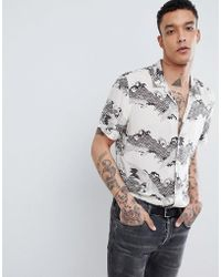 AllSaints - Short Sleeve Revere Shirt With Wave Print - Lyst