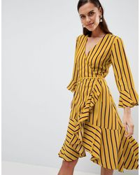 Y.A.S Striped Wrap Dress With Asymetric Ruffle Hem - Multicolor