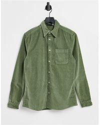 ASOS - Облегающая Вельветовая Рубашка Цвета Хаки - Lyst