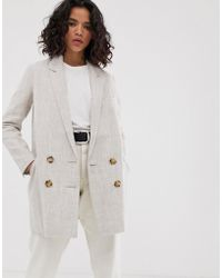 ASOS - Linen Coat With Contrast Buttons - Lyst