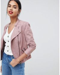 ONLY Faux Leather Biker Jacket - Pink