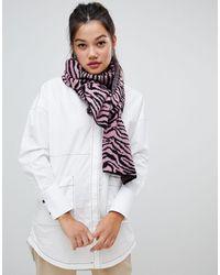 ASOS Gebreide Sjaal Met Zebraprint - Roze