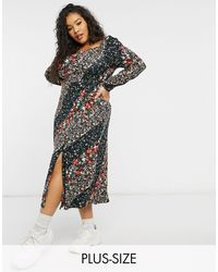 Simply Be Square Neck Jersey Midi Dress With Front Split - Multicolour