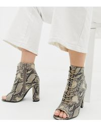 New Look Lace Up Block Heeled Sandal In Snake Pattern - Black