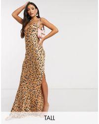 Robe longue col bénitier imprimé léopard