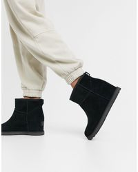 UGG Classic Femme Mini Suede Wedge Boots - Black