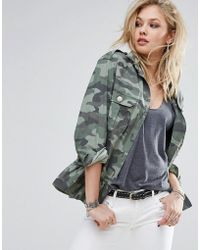 Replay - Camo Military Jacket With Frill Hem - Lyst
