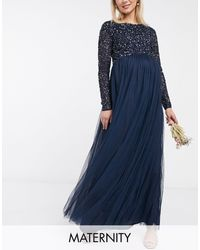 Maya Maternity Bridesmaid Long Sleeve Maxi Tulle Dress With Tonal Delicate Sequins - Blue