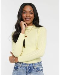 Warehouse Pointelle Knit Funnel Neck Jumper - Yellow