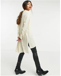 SELECTED Белая Удлиненная Рубашка Без Воротника Femme-белый