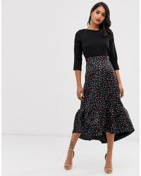 Closet Wardrobe 2 In 1 Frill Hem Dress - Black
