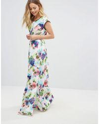 Lavand Floral Maxi Dress - Blue