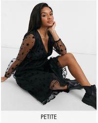 Y.A.S Petite Y.a.s. Petite Starly Star Mesh Wrap Midi Dress - Black