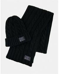Ben Sherman Hat & Scarf Gift Set - Black