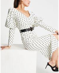 Little Mistress Long Puff Sleeve Belted Midi Dress - Multicolour