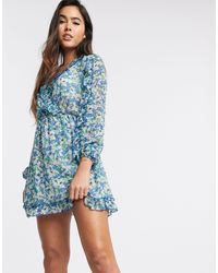 Stradivarius Mini Wrap Dress With Ruffles - Blue