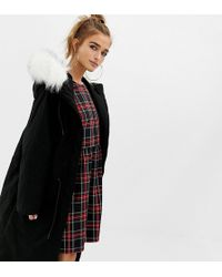 Collusion - Petite Parka Jacket With Fur Lined Hood - Lyst