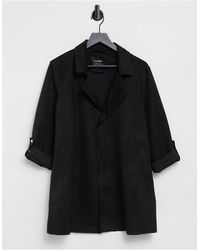 Pull&Bear Faux Suede Duster Coat - Black