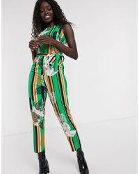Glamorous Printed Jumpsuit - Green