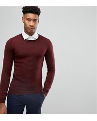ASOS - Tall Muscle Fit Merino Wool Jumper In Burgundy - Lyst