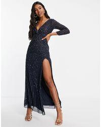 LACE & BEADS Pax Maxi Dress - Blue