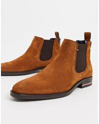 Tommy Hilfiger Замшевые Ботинки Челси Коричневого Цвета С Логотипом -коричневый