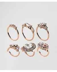 ALDO - Chydda Rose Gold Gem Multipack Rings - Lyst