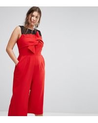 Simply Be Bow Front Culotte Jumpsuit - Red