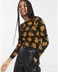 Monki Samia Cat Print Sweater - Black