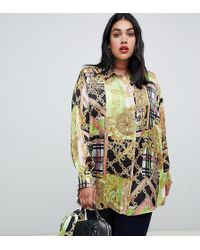 31187bbff ASOS - Asos Design Curve Oversized Long Sleeve Shirt Two-piece In Scarf  Print -