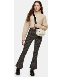 TOPSHOP Ditsy Jersey Flared Trouser - Multicolour