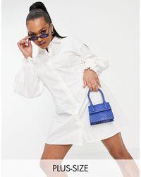 Missguided Белое Платье-рубашка Из Поплина С Объемными Рукавами -белый