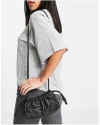 TOPSHOP Leather Drawstring Crossbody Bag - Black