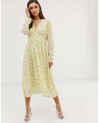 Y.A.S Floral Long Sleeve Maxi Dress - Yellow