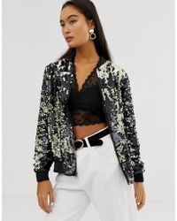 Soaked In Luxury - Sequin Bomber Jacket - Lyst