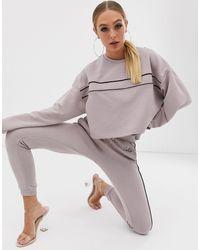 The Couture Club Sweat-shirt à épaules dénudées et empiècement contrastant - Mauve - Rose