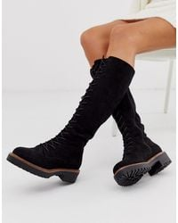 ASOS Courtney Chunky Lace Up Knee High Boots - Black
