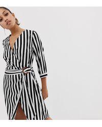 Vero Moda Stripe Wrap Dress - Black