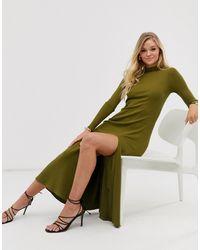 & Other Stories Платье Цвета Хаки С Высоким Воротом И Разрезом - Зеленый