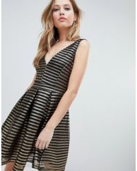 Oh My Love Structured Stipe Skater Dress - Black