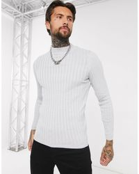 ASOS Muscle Wide Rib Turtle Neck Jumper - Grey