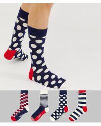 Happy Socks - Coffret cadeau de 4 paires de chaussettes à rayures - Lyst