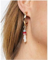 Warehouse Asymmetric Pearl And Bead Detail Earrings-white - Multicolour