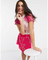 Liquorish Платье Мини С Кружевными Вставками И Цветочным Принтом -розовый